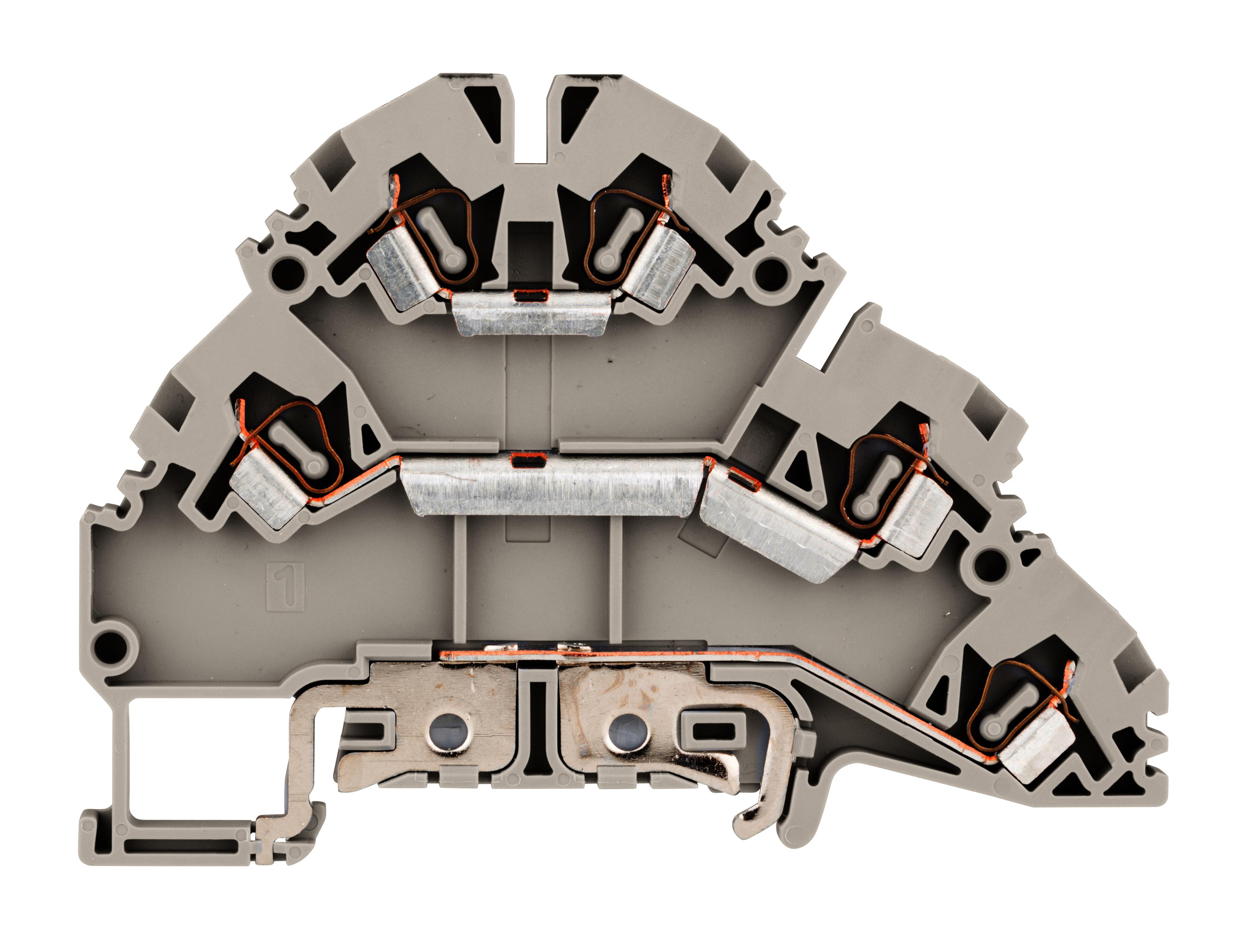 1 Stk Dreistockklemme 2,5mm² (L/N/PE), Type YBK 2.5 - 2 FT grau IK690002--