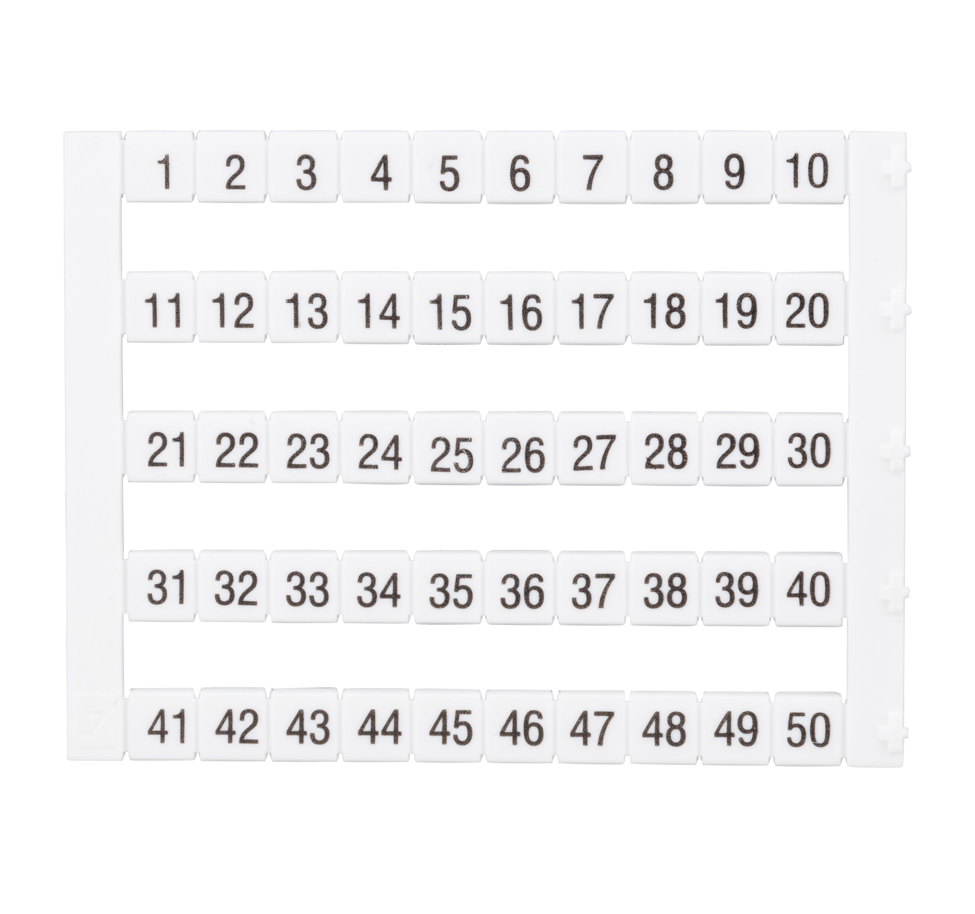 1 Stk Markierungsetiketten DY 5 bedruckt von 1-50 (1-mal) IK697040--