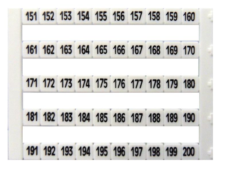 1 Stk Markierungsetiketten DY 5 bedruckt von 151-200 (1-mal) IK697043--