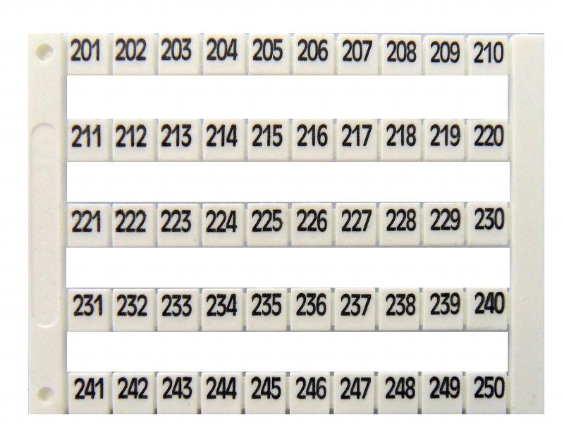 1 Stk Markierungsetiketten DY 5 bedruckt von 201-250 (1-mal) IK697044--