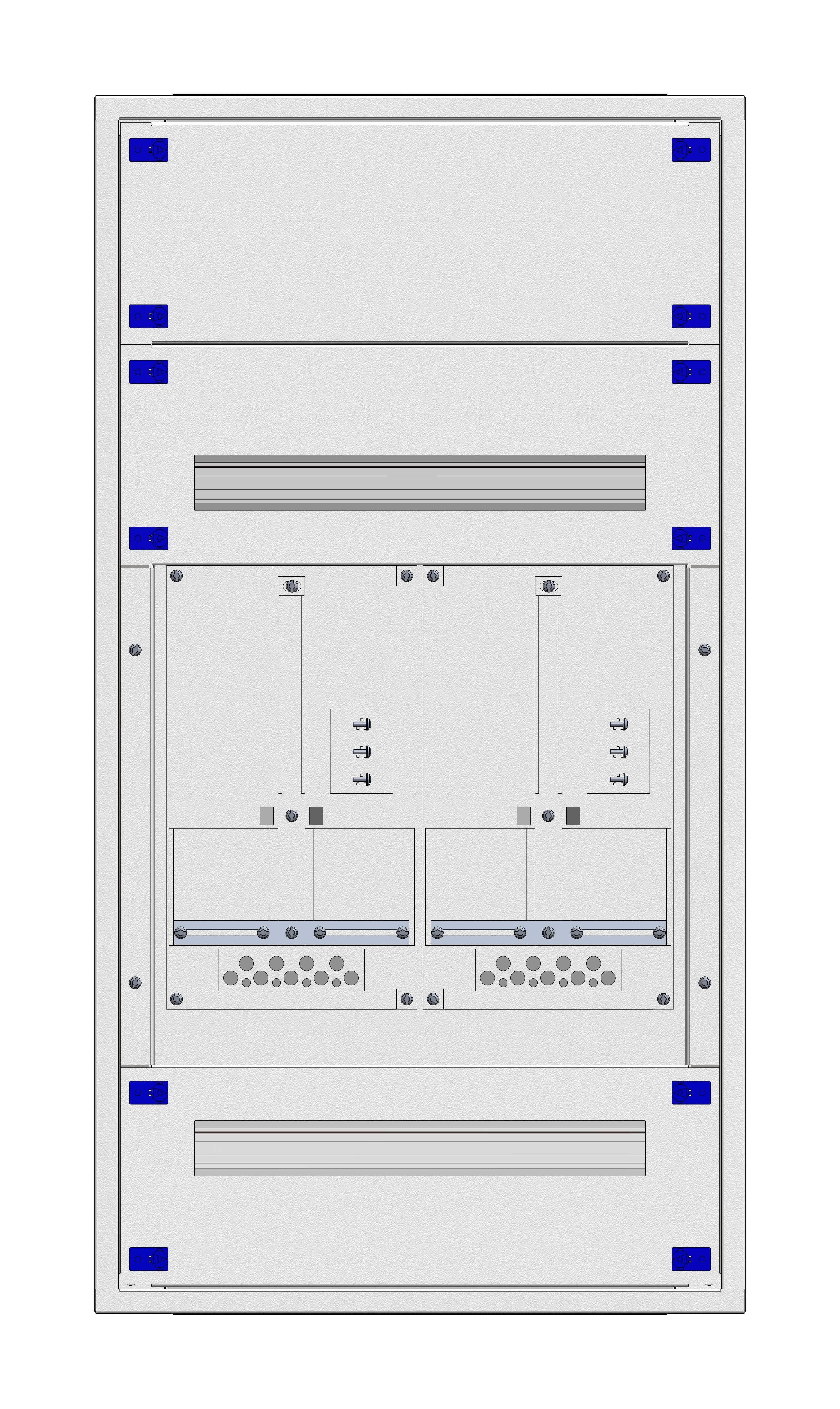 1 Stk Aufputz-Zählerverteiler 2A-21E/VBG 2ZP, H1055B590T250mm IL160221VS