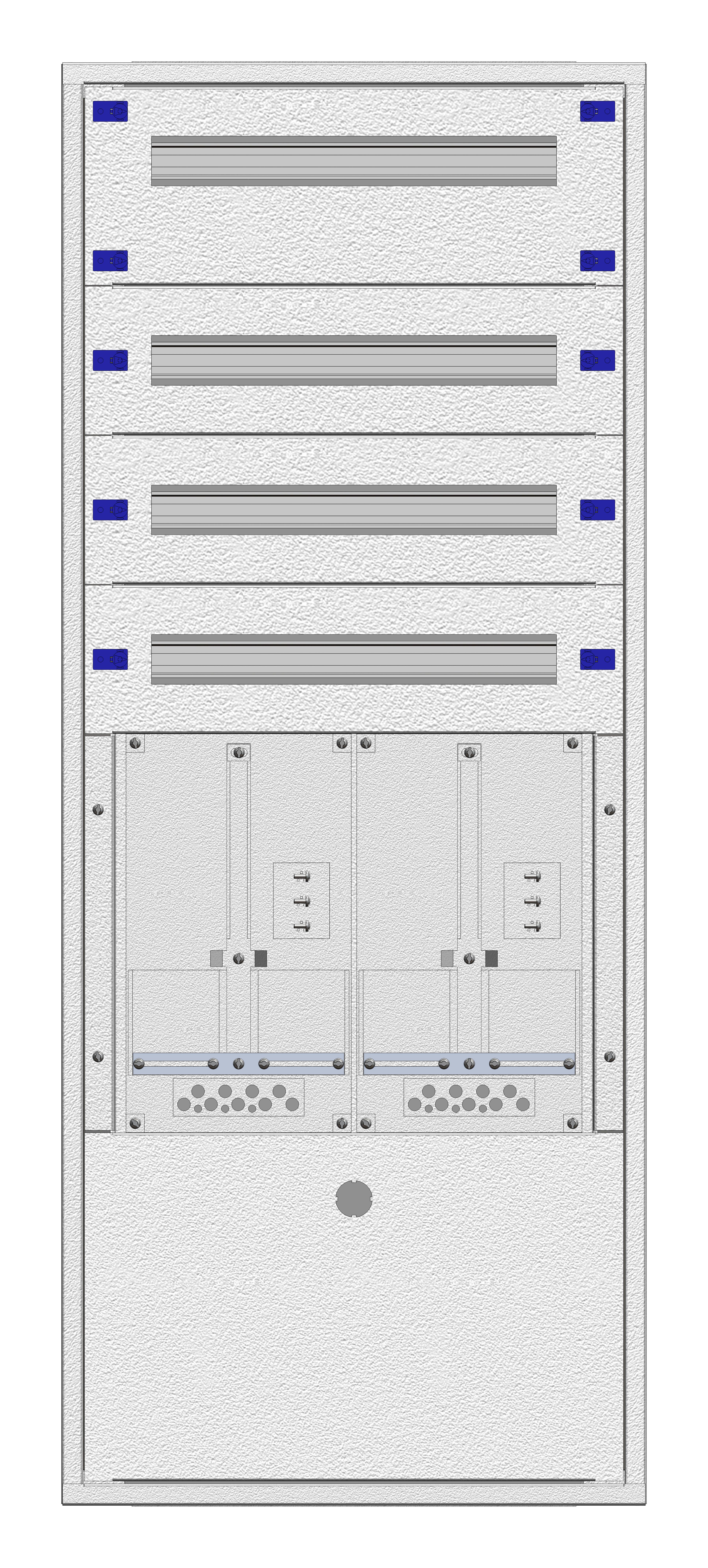 1 Stk Aufputz-Zählerverteiler 2A-28E/BGLD 2ZP, H1380B590T250mm IL160228BS