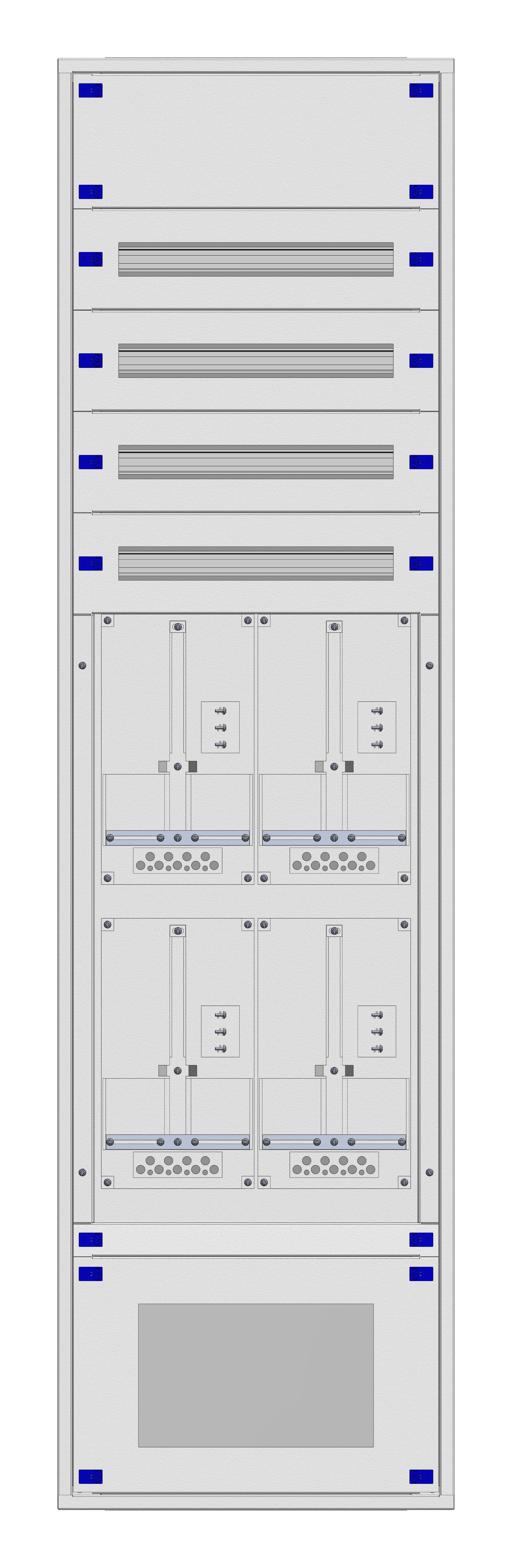 1 Stk Aufputz-Zählerverteiler 2A-42G/VBG 4ZP, H2025B590T250mm IL162242VS
