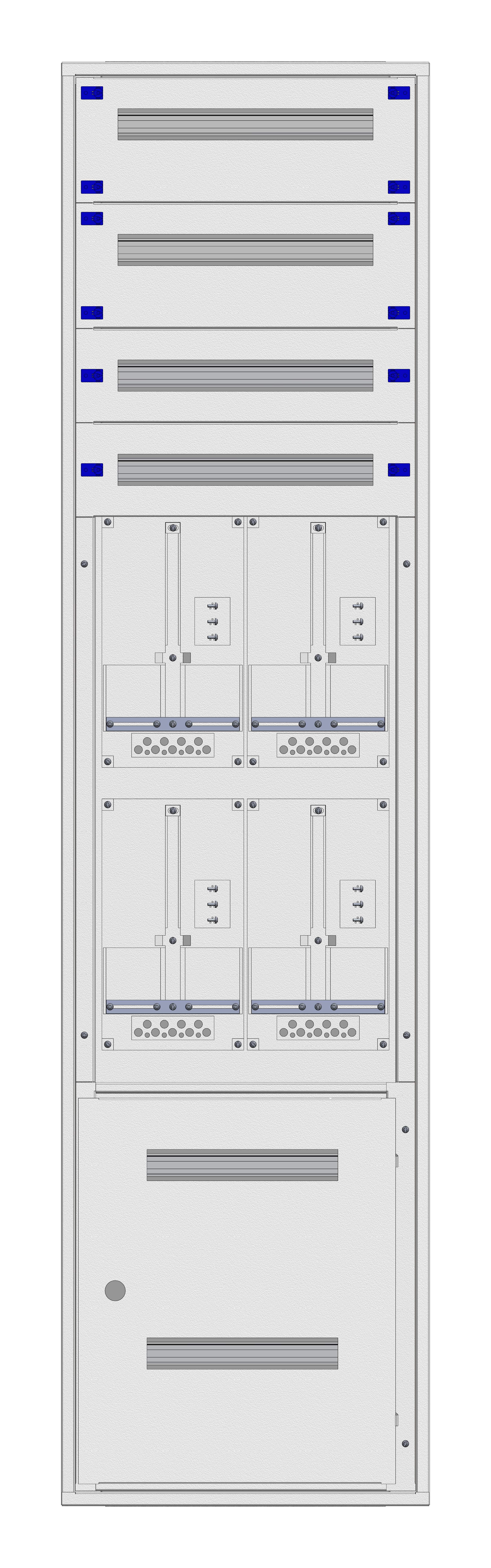 1 Stk Aufputz-Zählerverteiler 2A-45G/STMK 4ZP, H2160B590T250mm IL162245GS