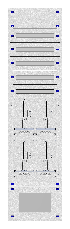 1 Stk Aufputz-Zählerverteiler 2A-45G/VBG 4ZP, H2160B590T250mm IL162245VS