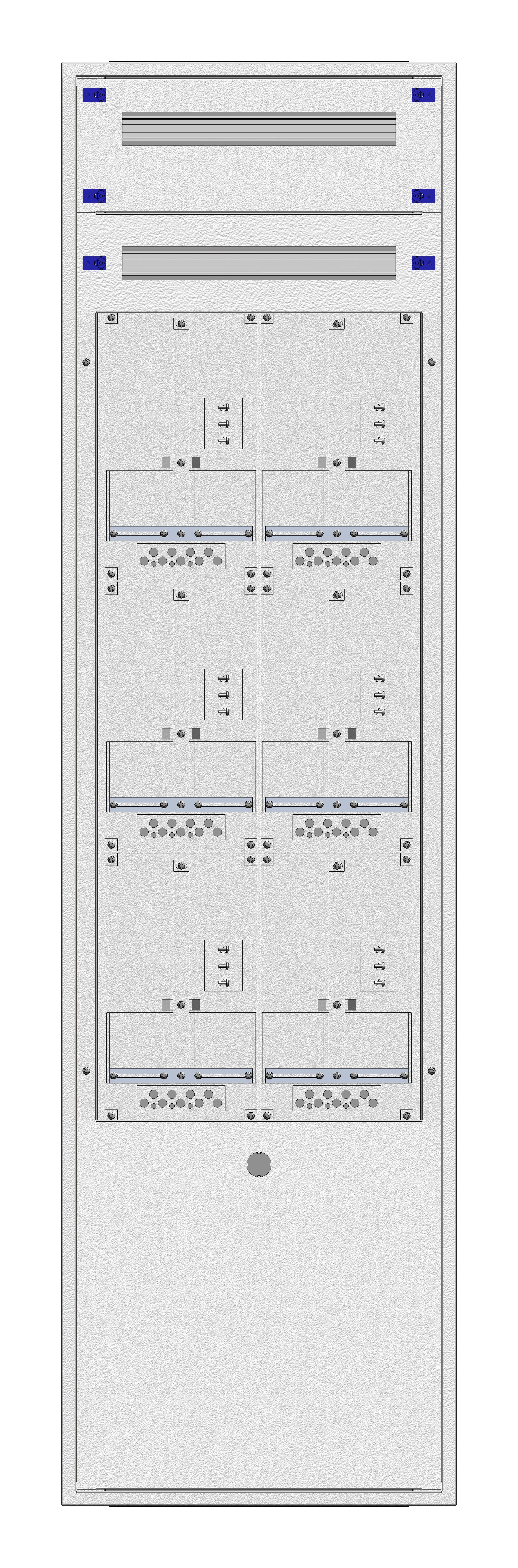 1 Stk Aufputz-Zählerverteiler 2A-42M/BGLD 6ZP, H2025B590T250mm IL168242BS