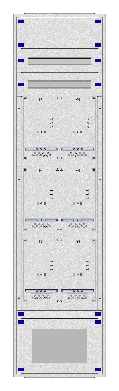 1 Stk Aufputz-Zählerverteiler 2A-45M/VBG 6ZP, H2160B590T250mm IL168245VS