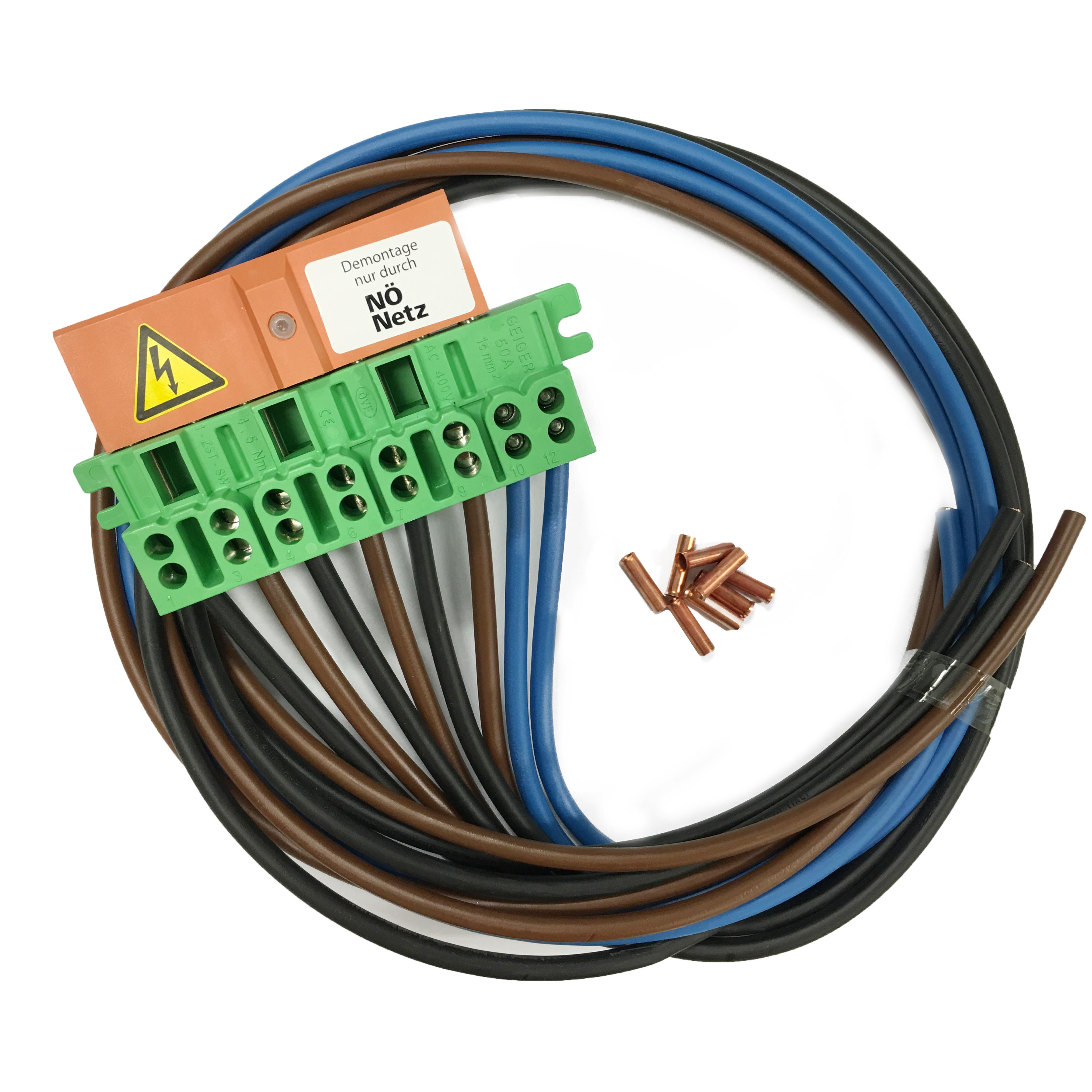 1 Stk 4-polige Zähleranschlussklemme 50A + 2,0m Kabel EVN grün IL900167--