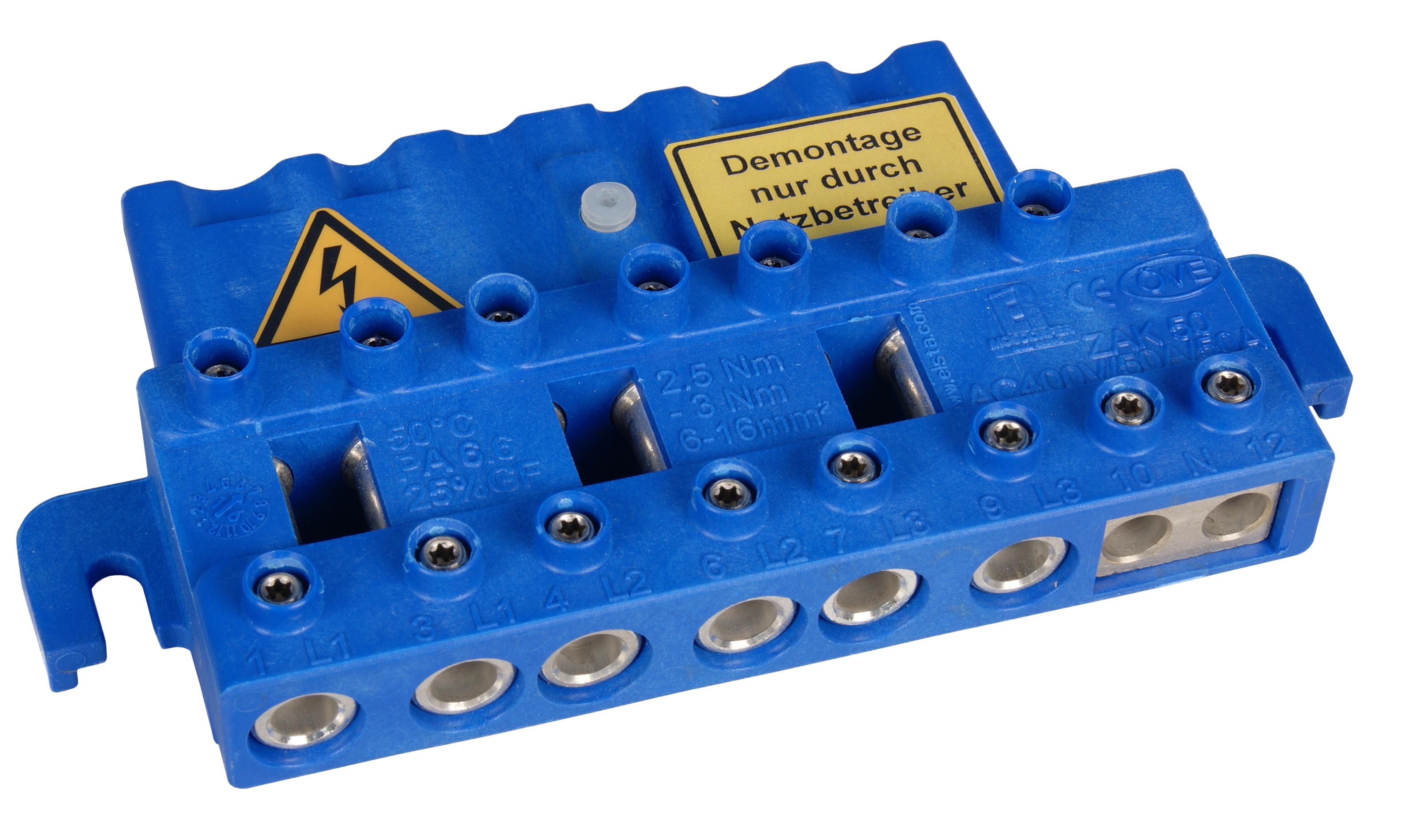 1 Stk 4-polige Zähleranschlussklemme  50A, Netz NÖ blau IL900176--