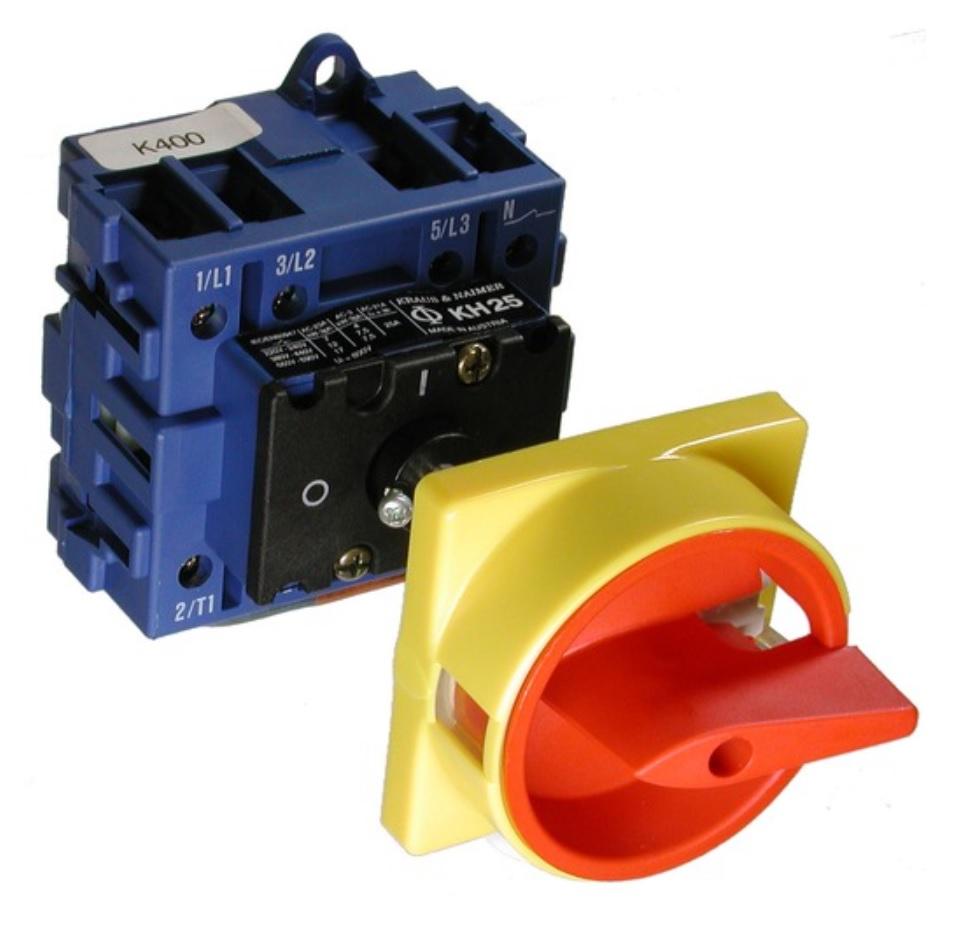 1 Stk Hauptschalter NOT-AUS 3-polig, Verteilereinbau, 25A, 7,5kW IN802298--