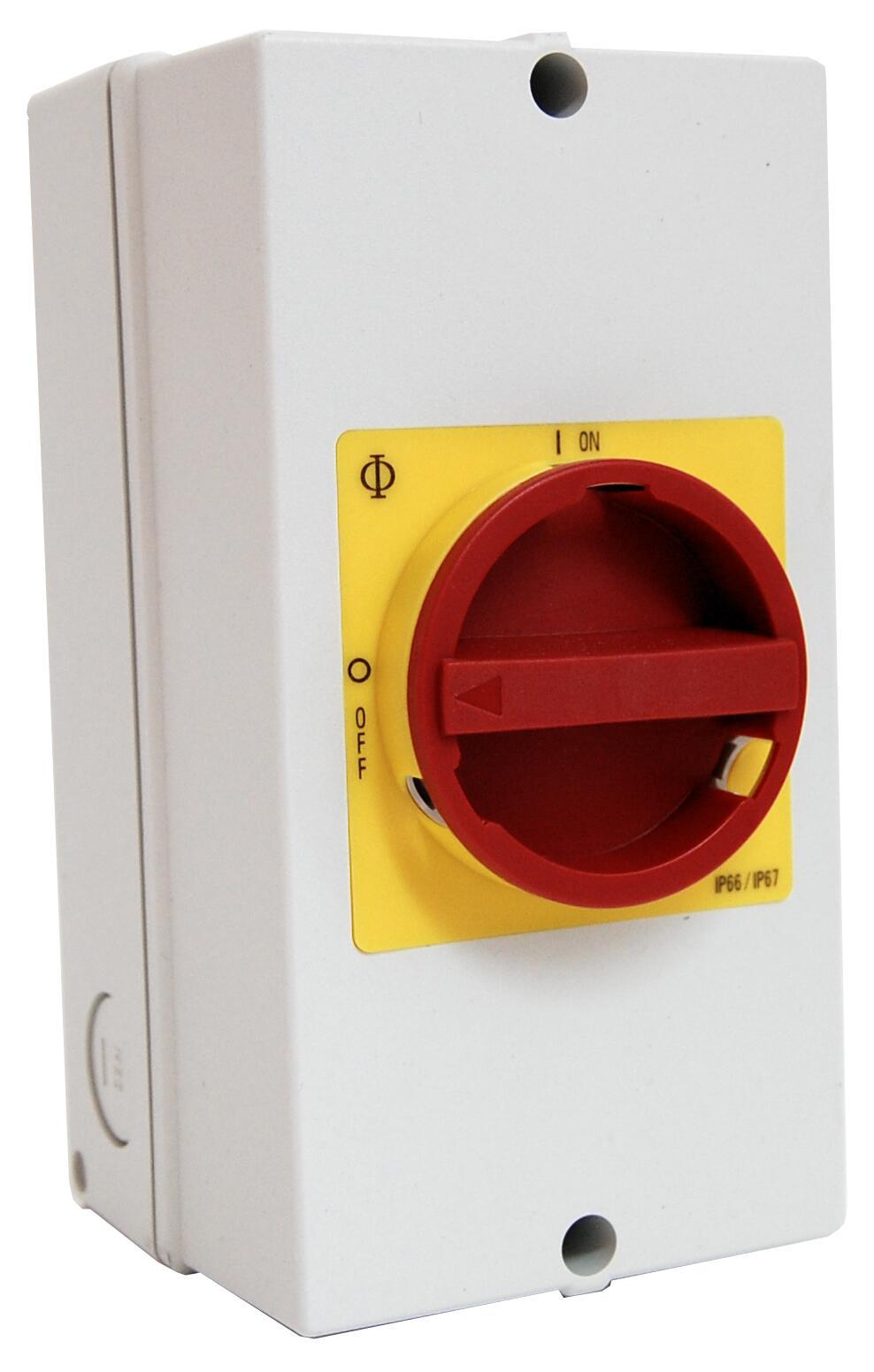 1 Stk Not-Aus-Schalter, 6-polig + 2 Hilfskontakte, PE-Klemme, 25A IN892011--