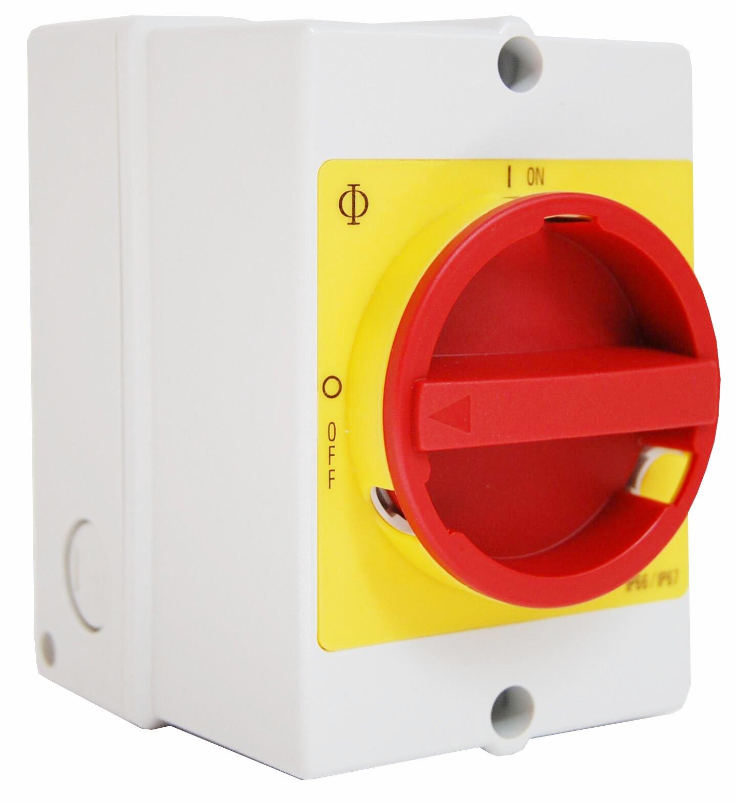 1 Stk Not-Aus-Schalter, 6-polig + 2 Hilfskontakte, PE-Klemme, 20A IN892015--