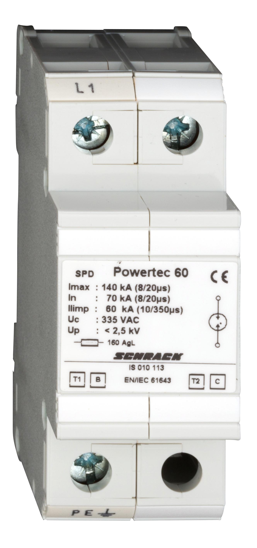 1 Stk Blitzstromableiter 60kA, Ableiterklasse T1/2 B/C IS010113--