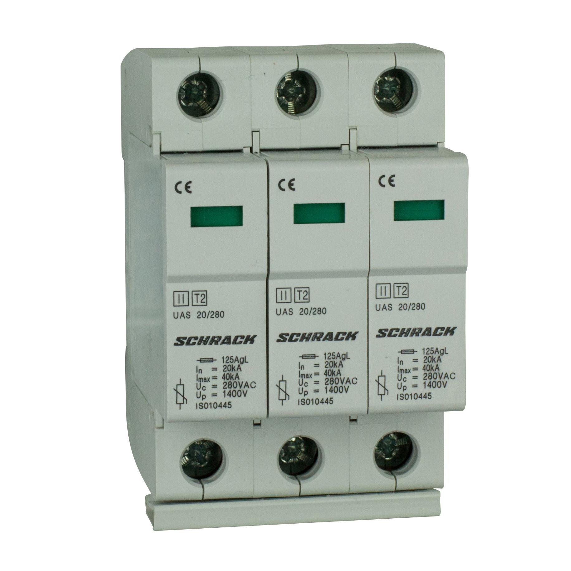 1 Stk T2/C - Ableiter komplett, 3p, 3x20kA/280V - Serie UAS IS010448--