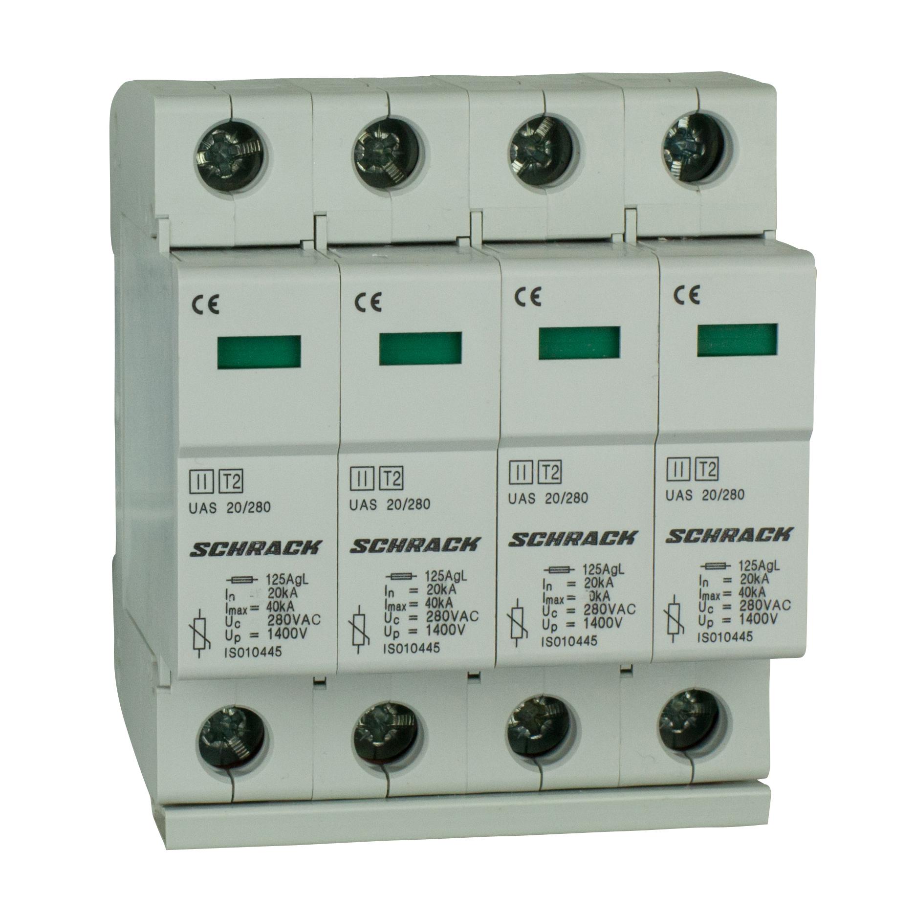 1 Stk T2/C - Ableiter komplett, 4p, 4x20kA/280V - Serie UAS IS010449--