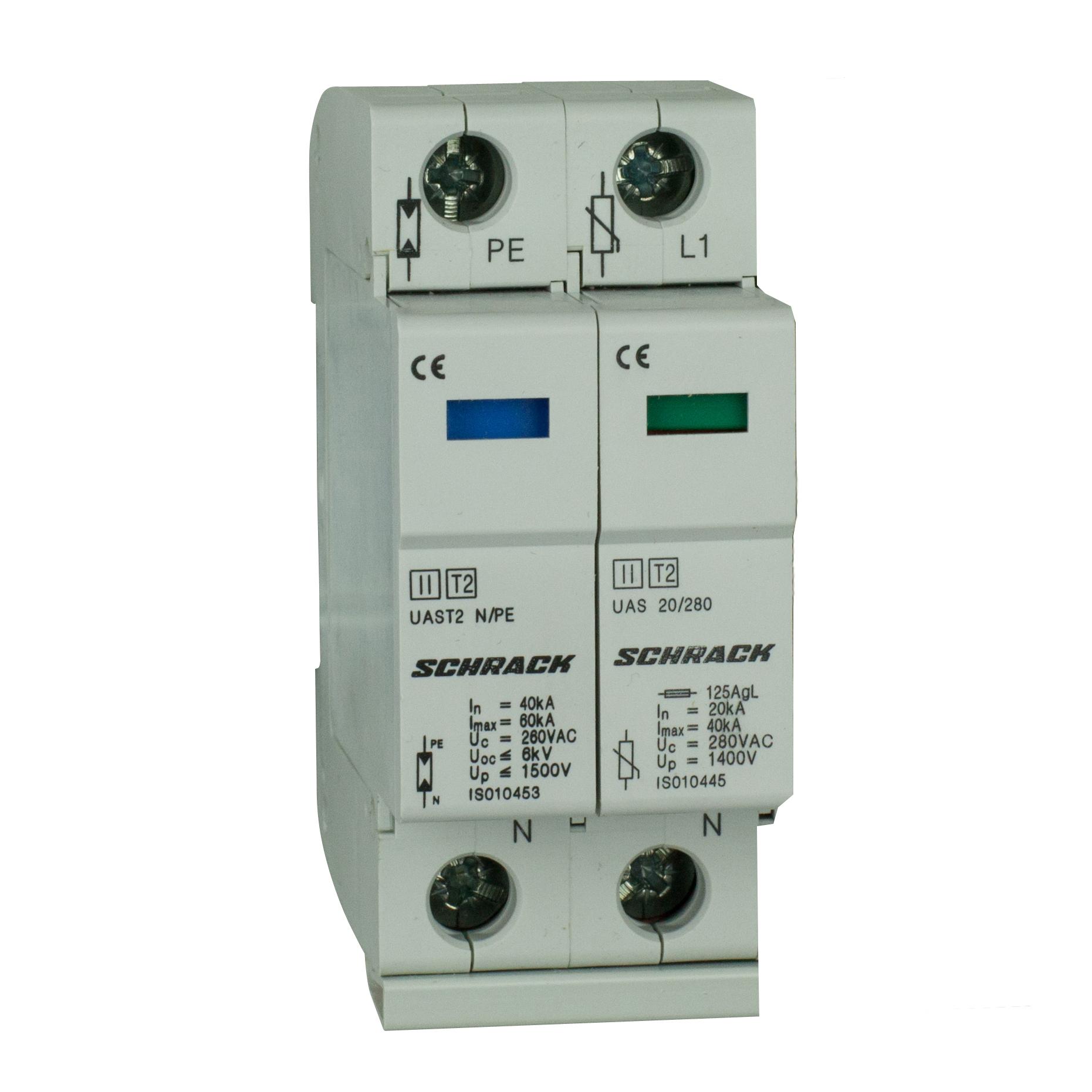 1 Stk T2/C - Ableiter komplett, 1+1, 20kA/280V - Serie UAS IS010450--