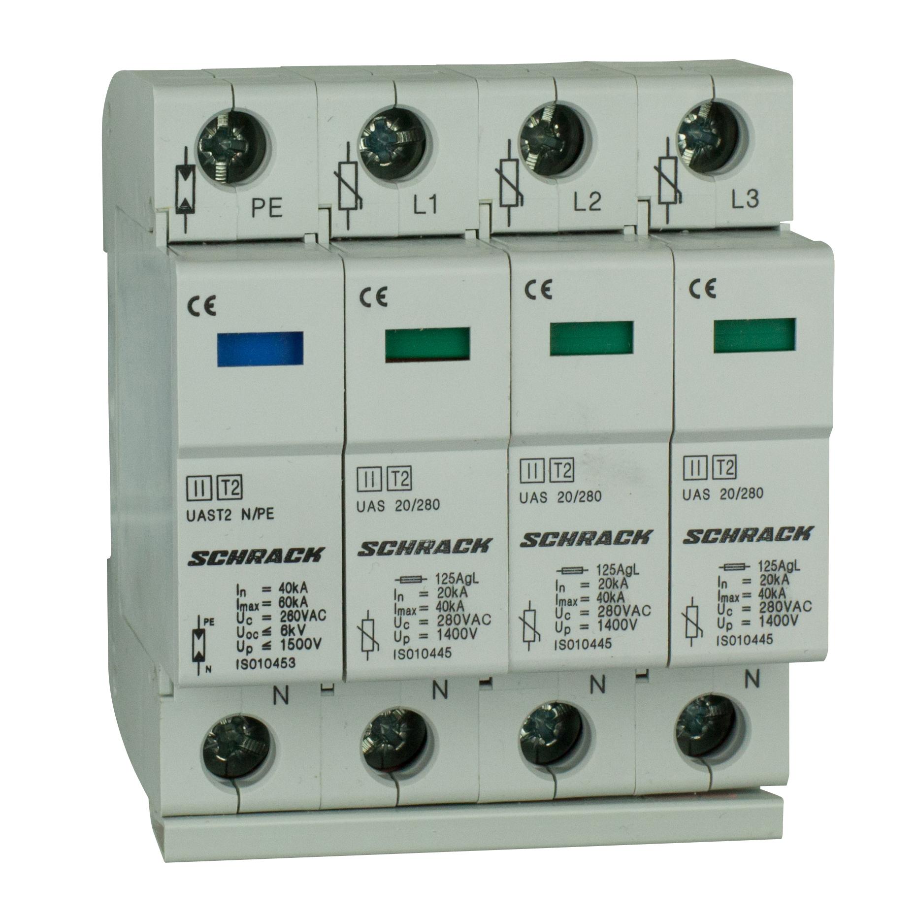 1 Stk T2/C - Ableiter komplett, 3+1, 60kA/280V - Serie UAS IS010459--