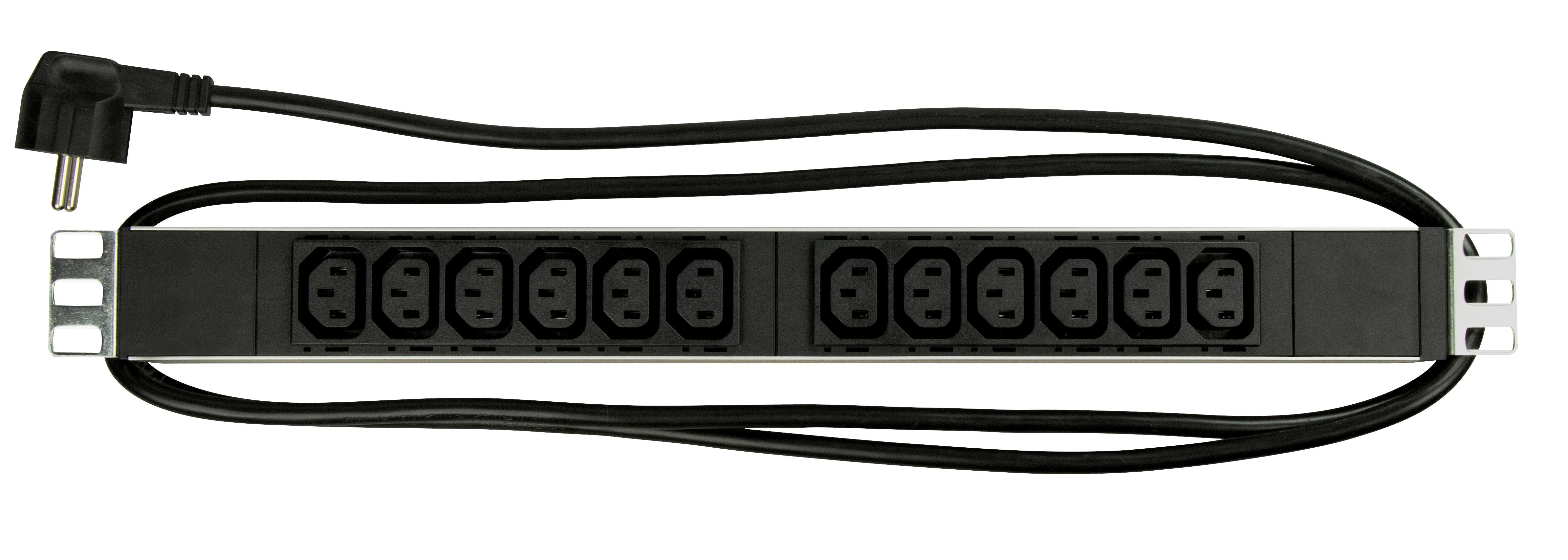 1 Stk 19 Netzleiste 12xIEC C13, Profil ALU 1HE, 2m-Kabel, schwarz IU070116--