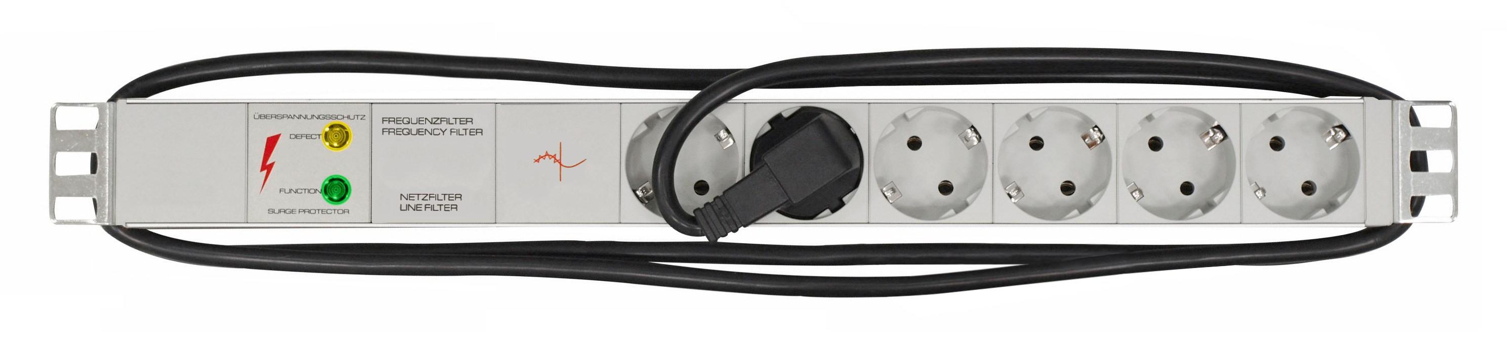 1 Stk 19 Netzleiste 6xSchuko mit Überspannungsschutz, Netz- und IU070118--