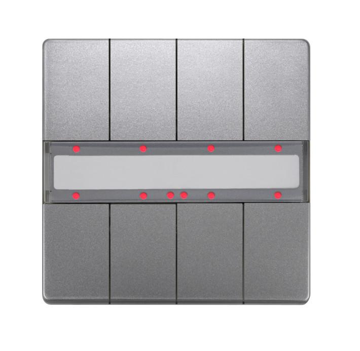 1 Stk Taster 4-fach mit Status-LED, DELTA style, platinmetallic KX2872DB43