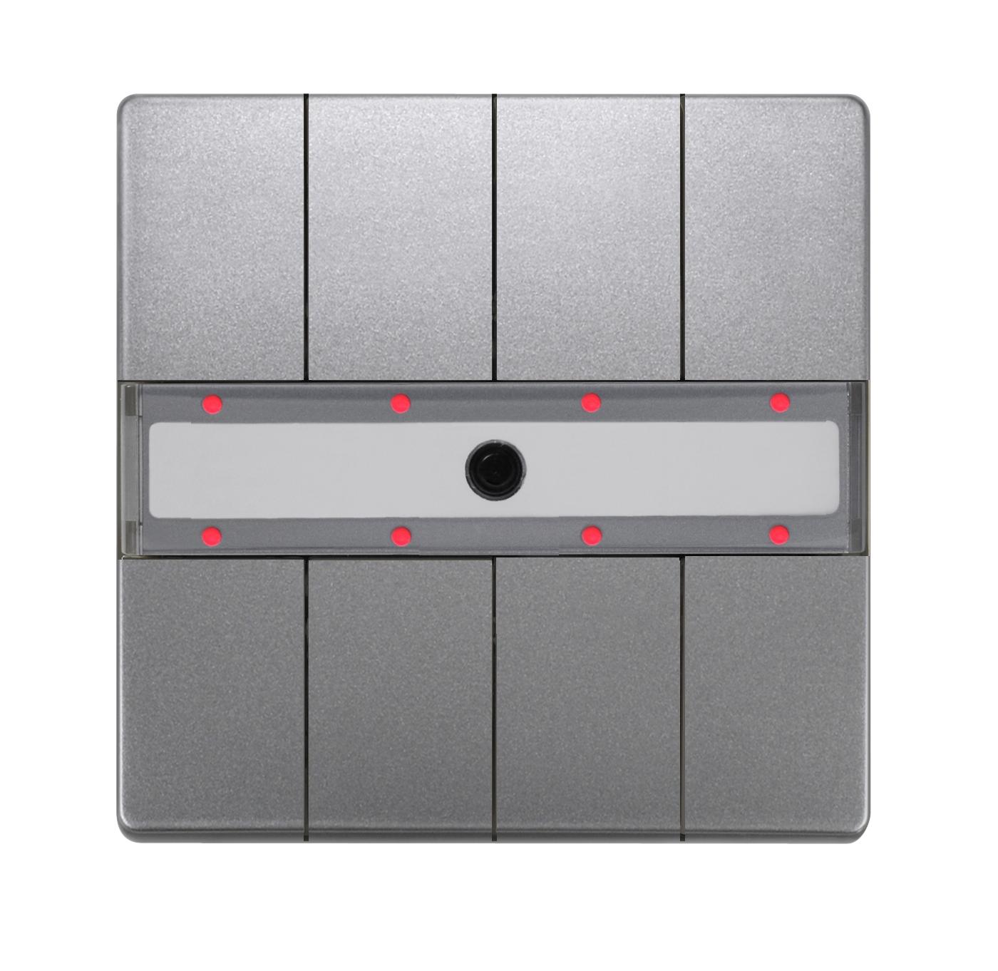 1 Stk Taster 4-fach mit Status-LED, DELTA style, platinmetallic KX2872DB45