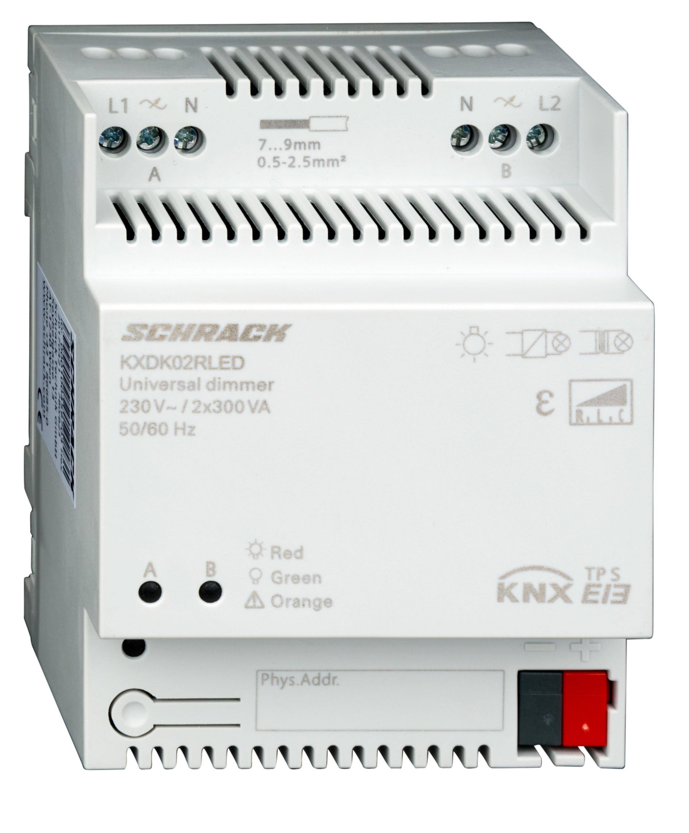 1 Stk KNX Universal Dimmaktor, 2x300VA (für dimmbare LED geeignet) KXDK02RLED