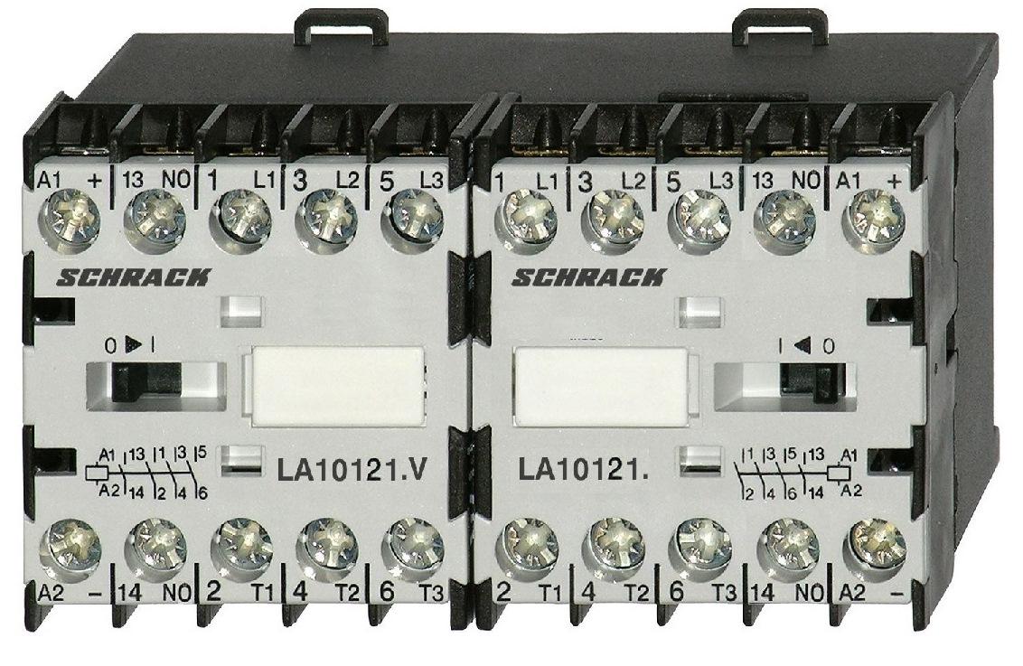 1 Stk Mini-Wendeschütz 5,5kW 24VAC, mit Schließer LA1W12W010