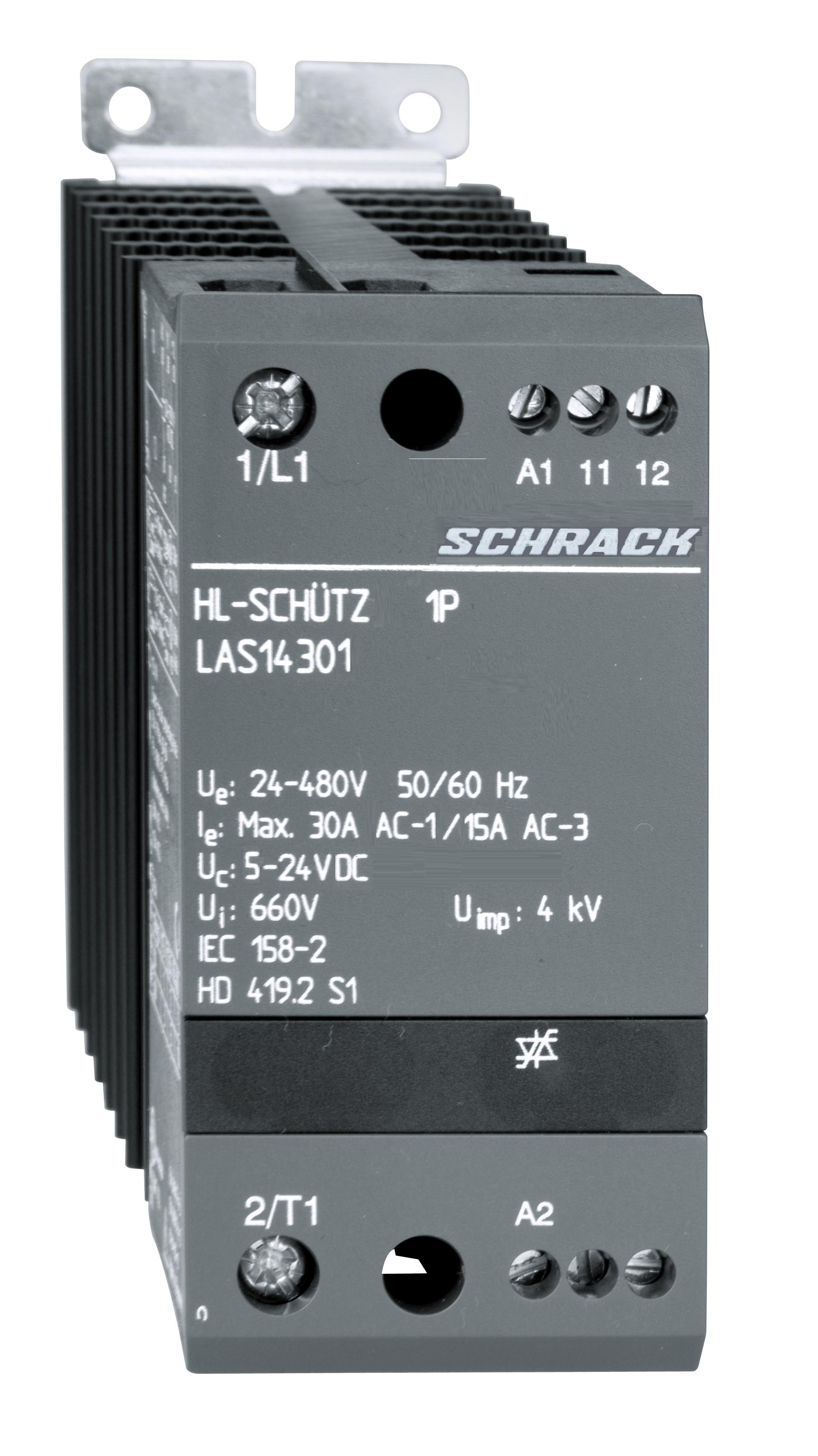 1 Stk Halbleiterschütz 1-polig 30A/24-480VAC, 5-24VDC LAS14301--