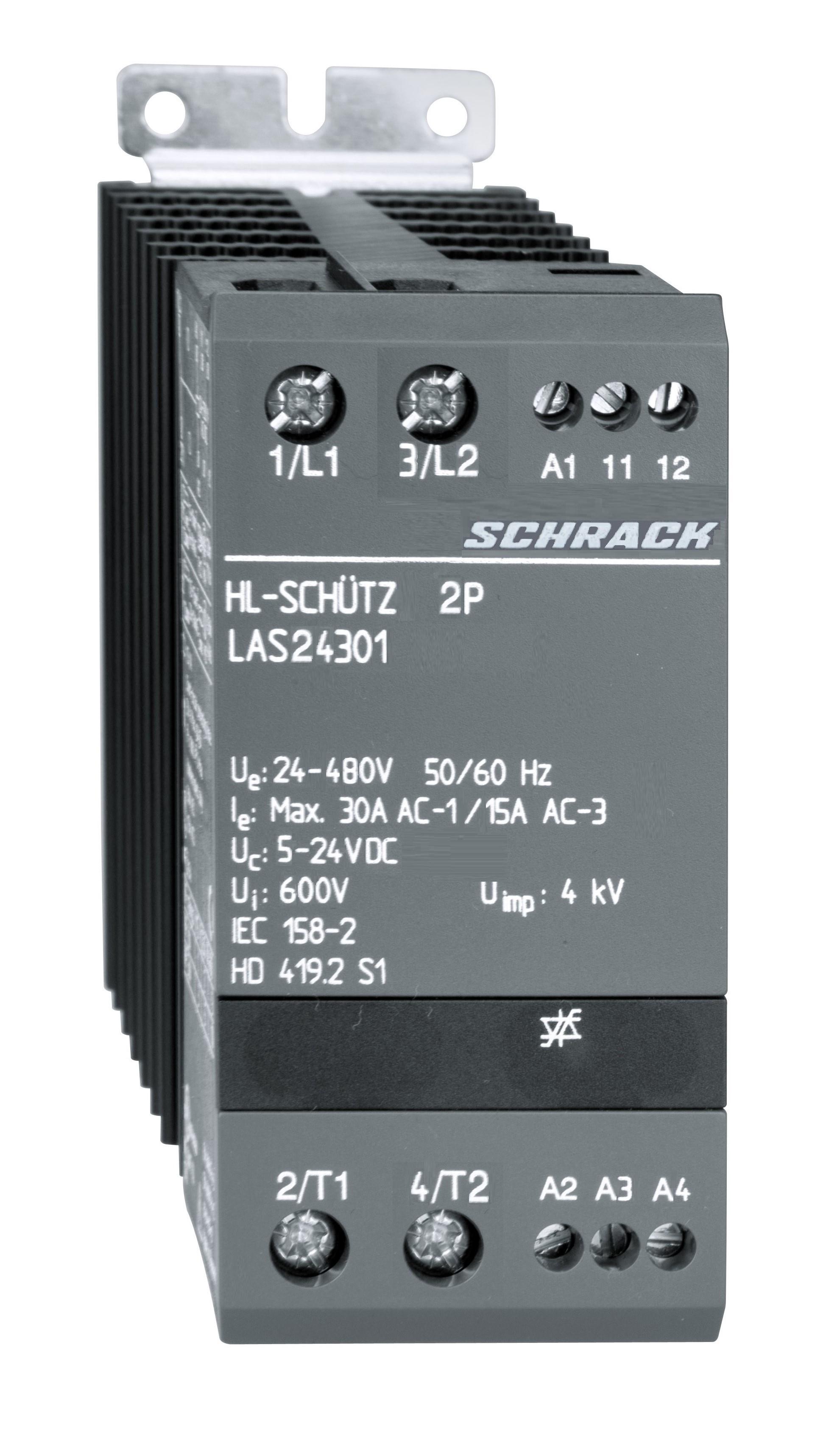 1 Stk Halbleiterschütz 2x1-polig 30A/24-480VAC, 5-24VDC LAS24301--
