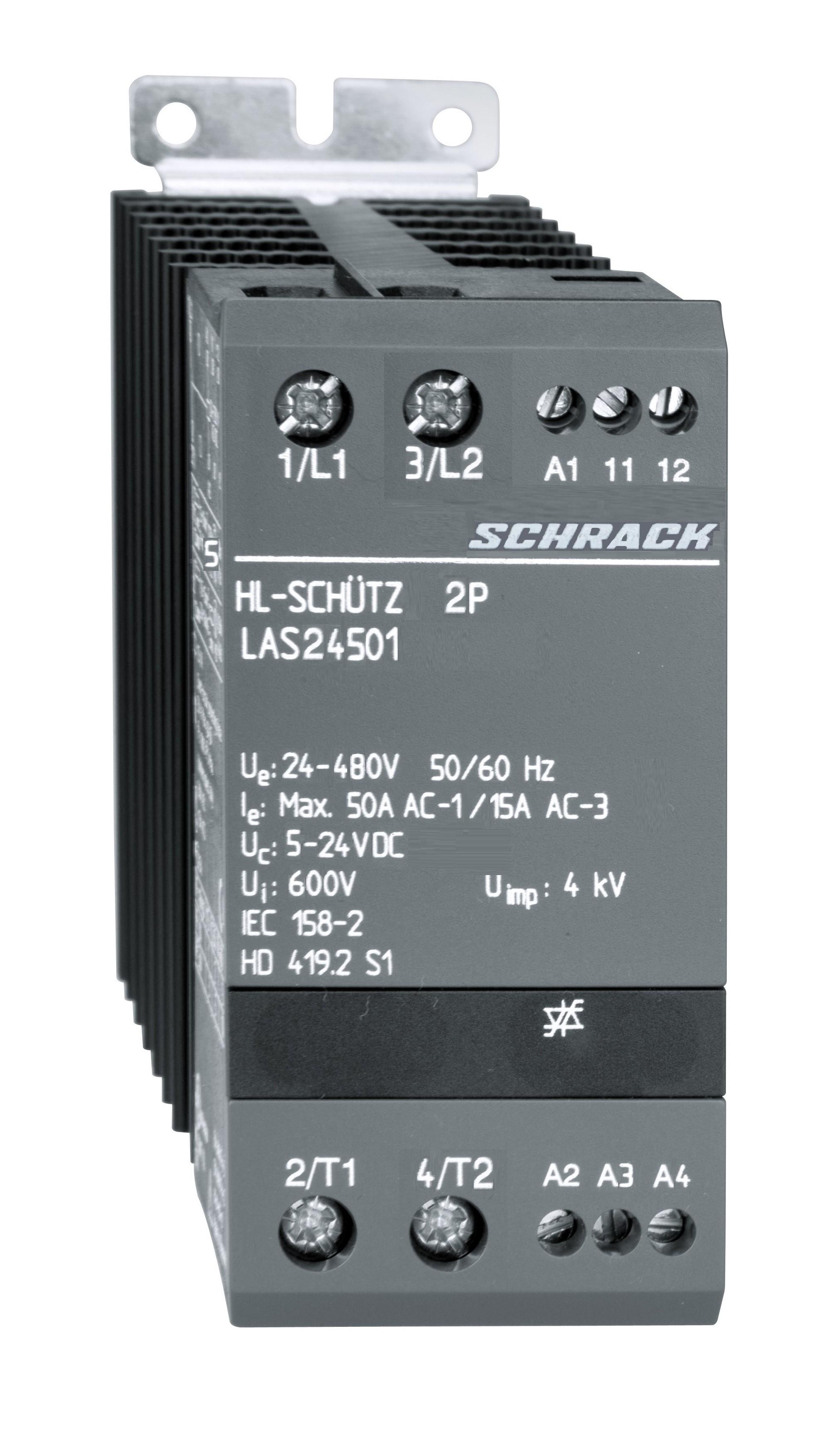 1 Stk Halbleiterschütz 2x1-polig 50A/24-480VAC, 5-24VDC LAS24501--