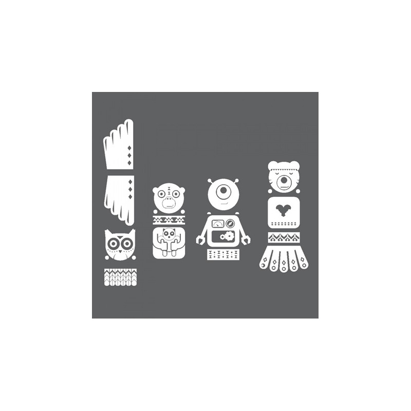 1 Stk Sticker Totem Owl, weiß LI155990--