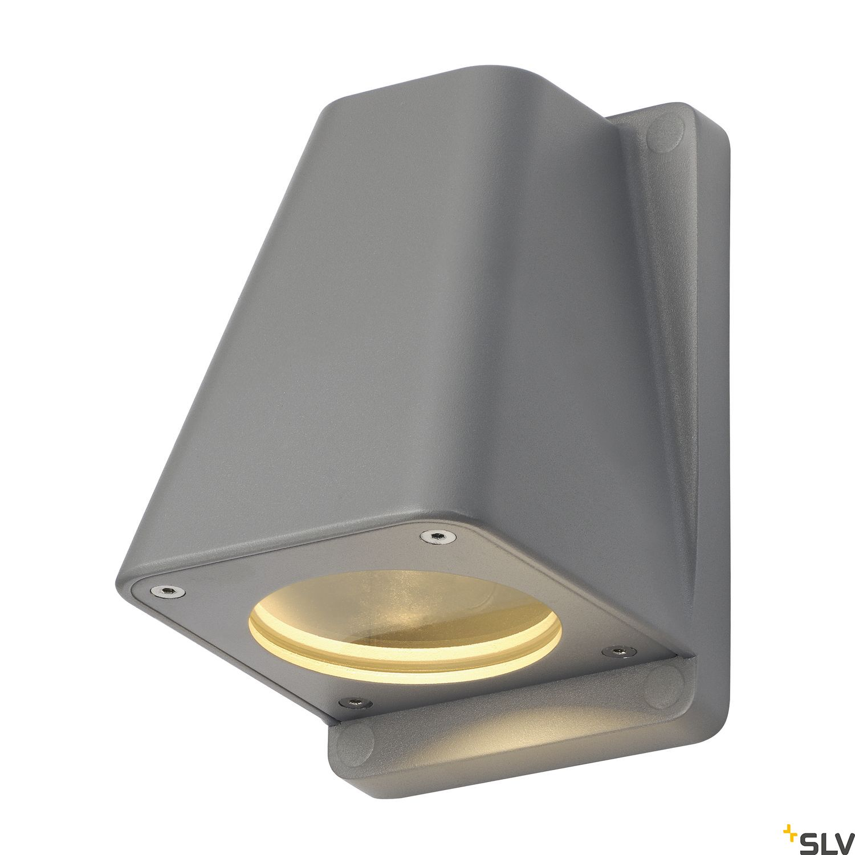 1 Stk WALLYX GU10 Wandleuchte, max. 50W, IP44, silbergrau LI227194--