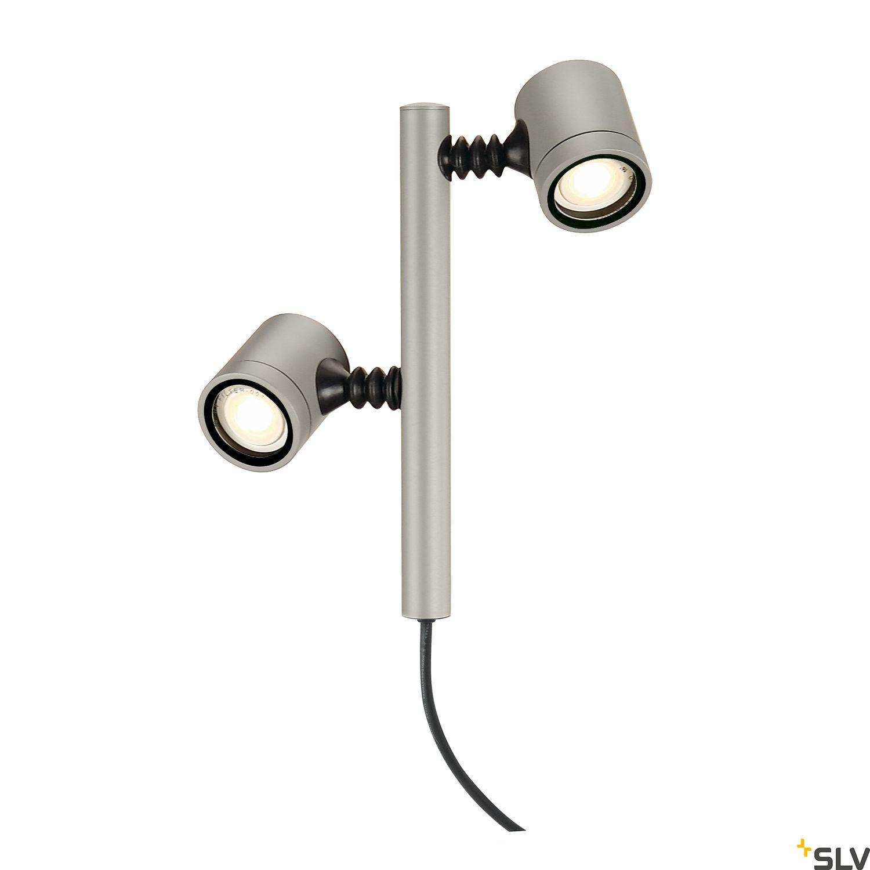 1 Stk NEW MYRA 2 Leuchtenkopf, GU10, max. 2x4W, IP44, silbergrau LI233184--