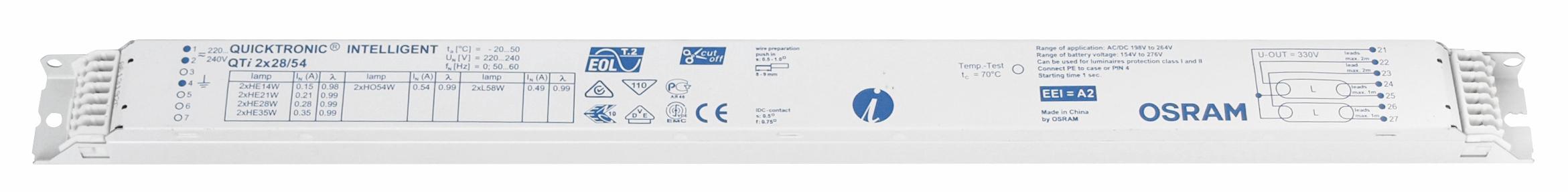 EVG QTi 2x28/54/220-240 für T5 Multiwatt nicht dimmbar