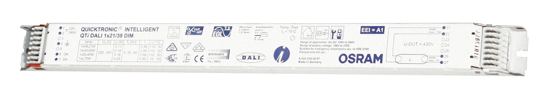 EVG QTIDALI 1x21/39/220/240 für T5 dimmbar DALI