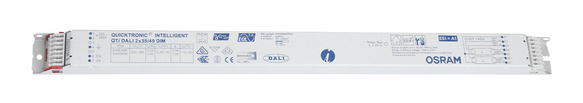 EVG QTIDALI 2x21/39/220-240 für T5 dimmbar DALI