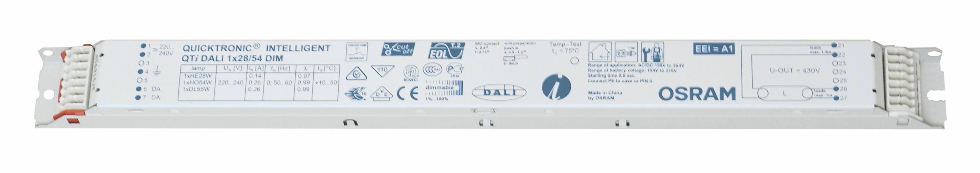 EVG QTIDALI 1x28/54/220/240 für T5 dimmbar DALI