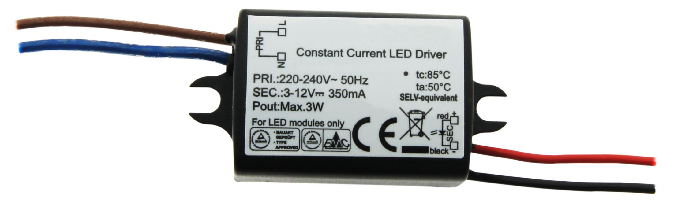 1 Stk LED Netzteil HW 3W/350mA, Mini, IP65 LINT403350