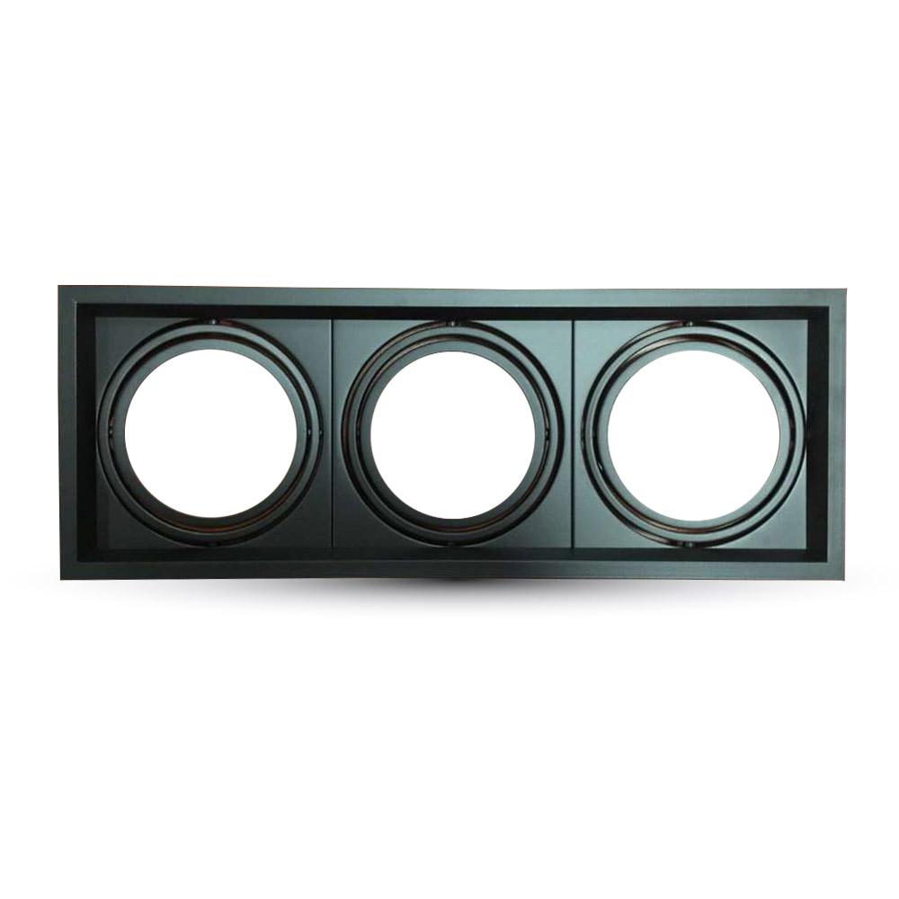 Einbauspot 3xAR111, schwarz