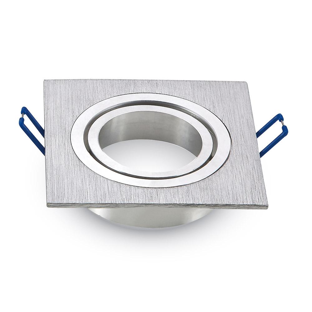 Einbauspot 1xGU10 eckig, aluminium gebürstet