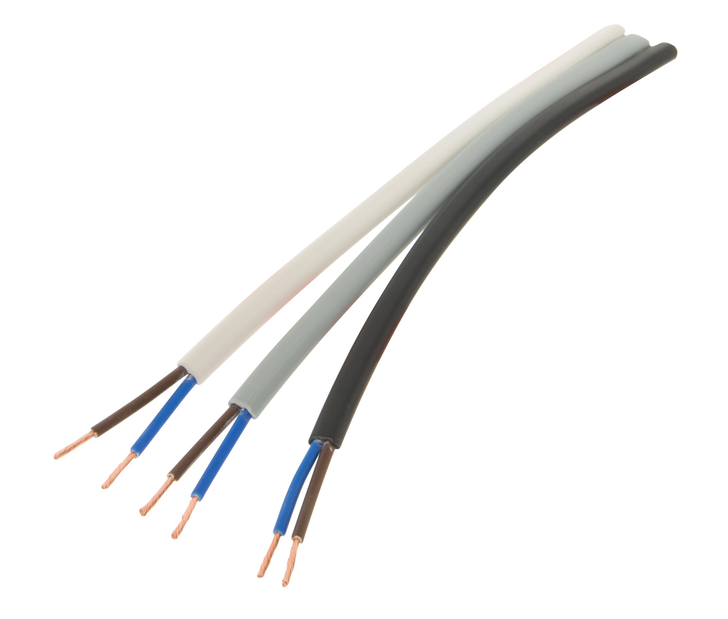 1 m Doppelisoliertes Flachbandkabel 2 polig 0,75mm² weiss LIZU030002