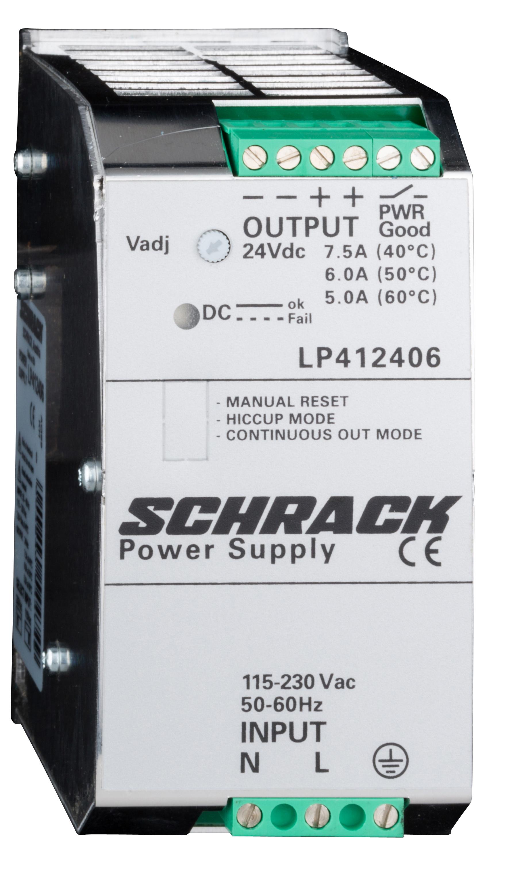 1 Stk Einphasiges Netzgerät getaktet, 230VAC/24VDC, 6A bei 50°C LP412406--