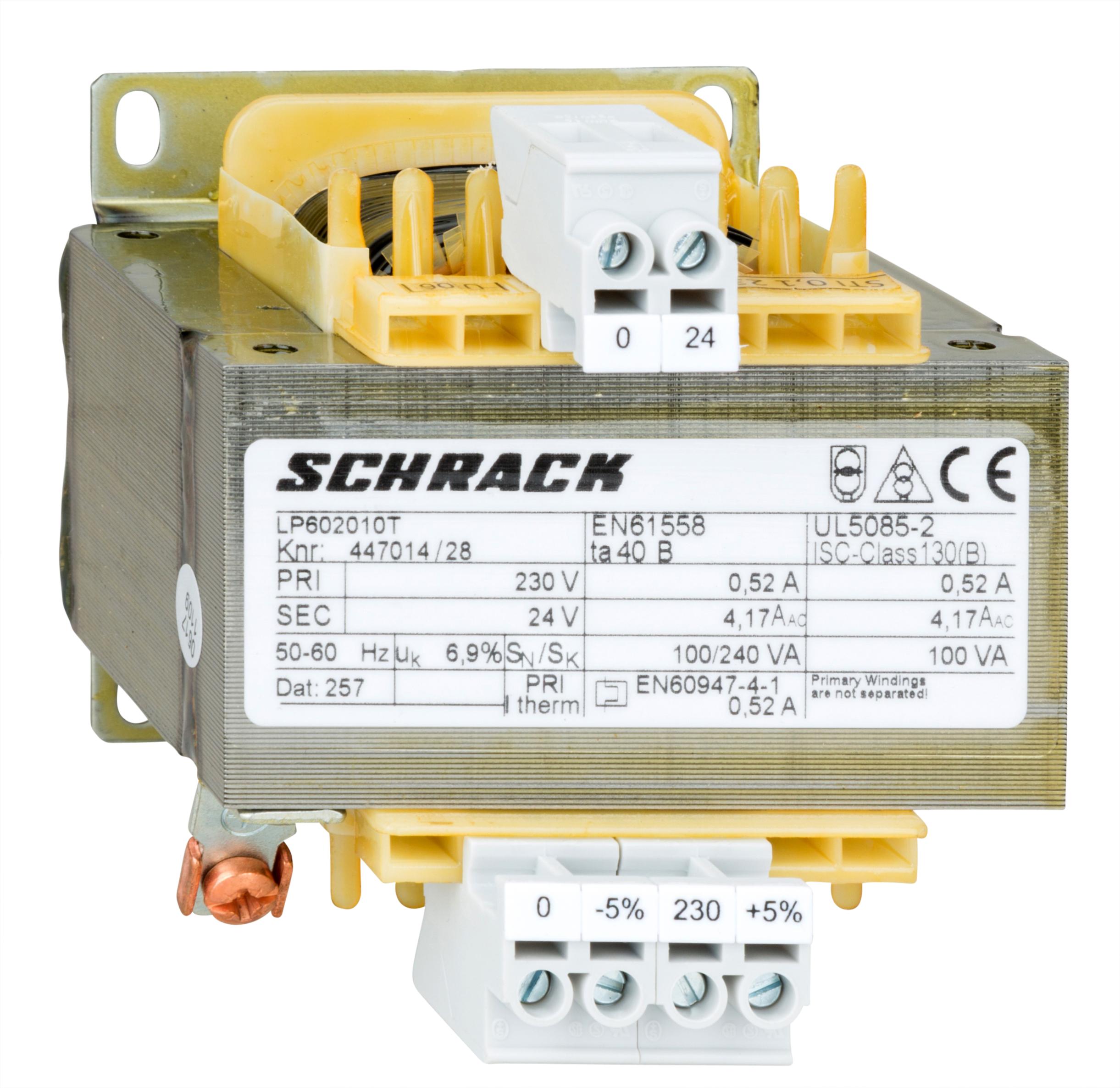 1 Stk Einphasen Steuertransformator 230/24V, 100VA, IP00 LP602010T-