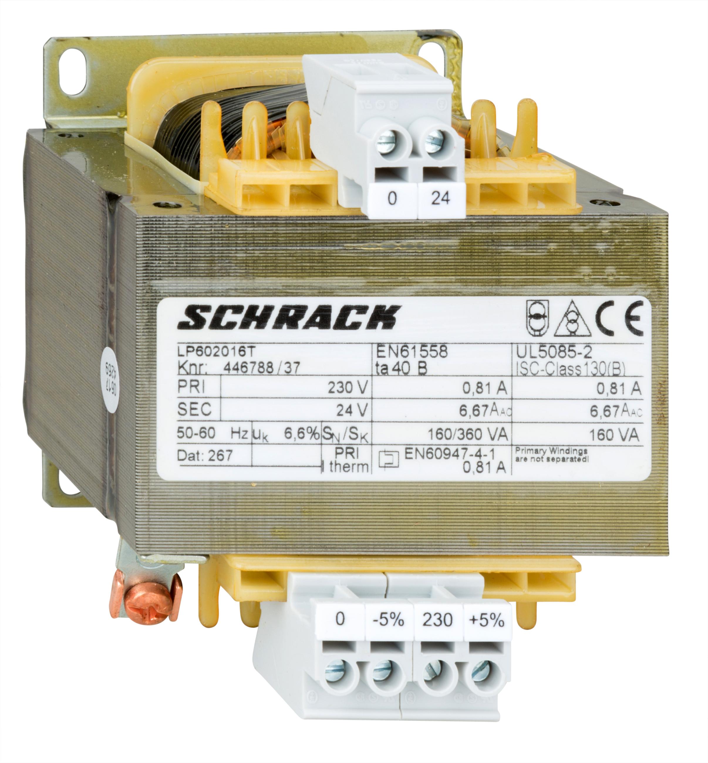 1 Stk Einphasen Steuertransformator 230/24V, 160VA, IP00 LP602016T-