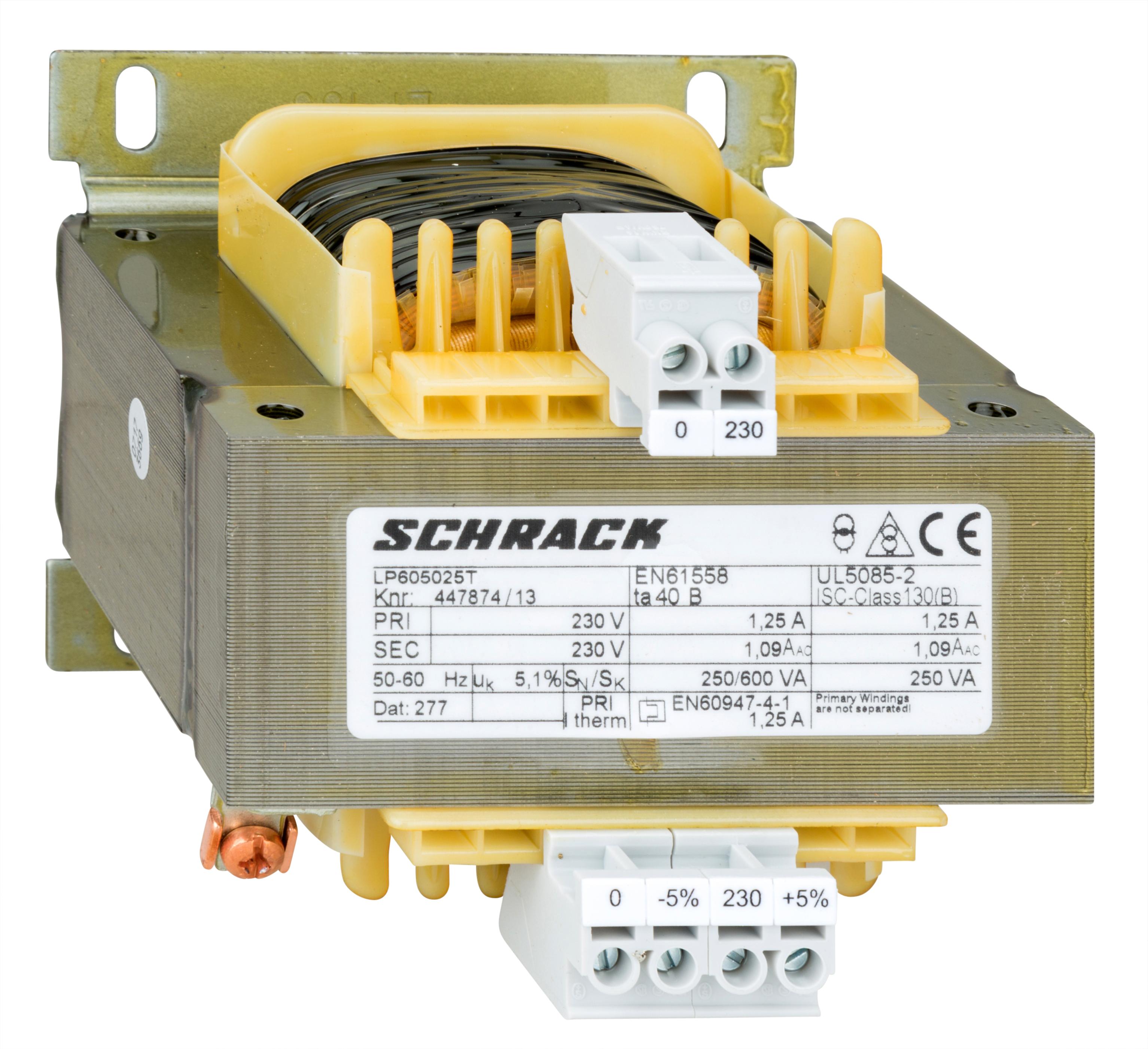 1 Stk Einphasen Steuertransformator 230/230V, 250VA, IP00 LP605025T-