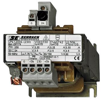 1 Stk Einphasen Steuertransformator 230/24V, 250VA,IP00, Sicherung LP612025T-