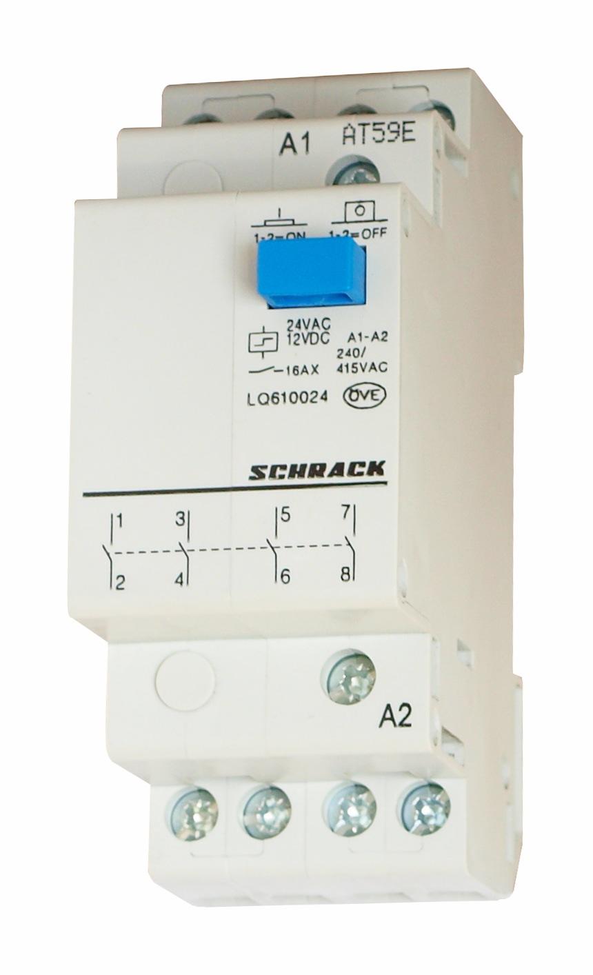 1 Stk Reiheneinbau Fernschalter, 4 Schließer, 24VAC/12VDC LQ610024--