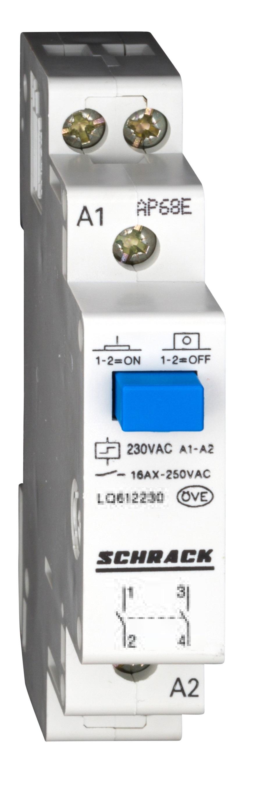 1 Stk Reiheneinbau Fernschalter, 2 Schließer, 230VAC LQ612230--