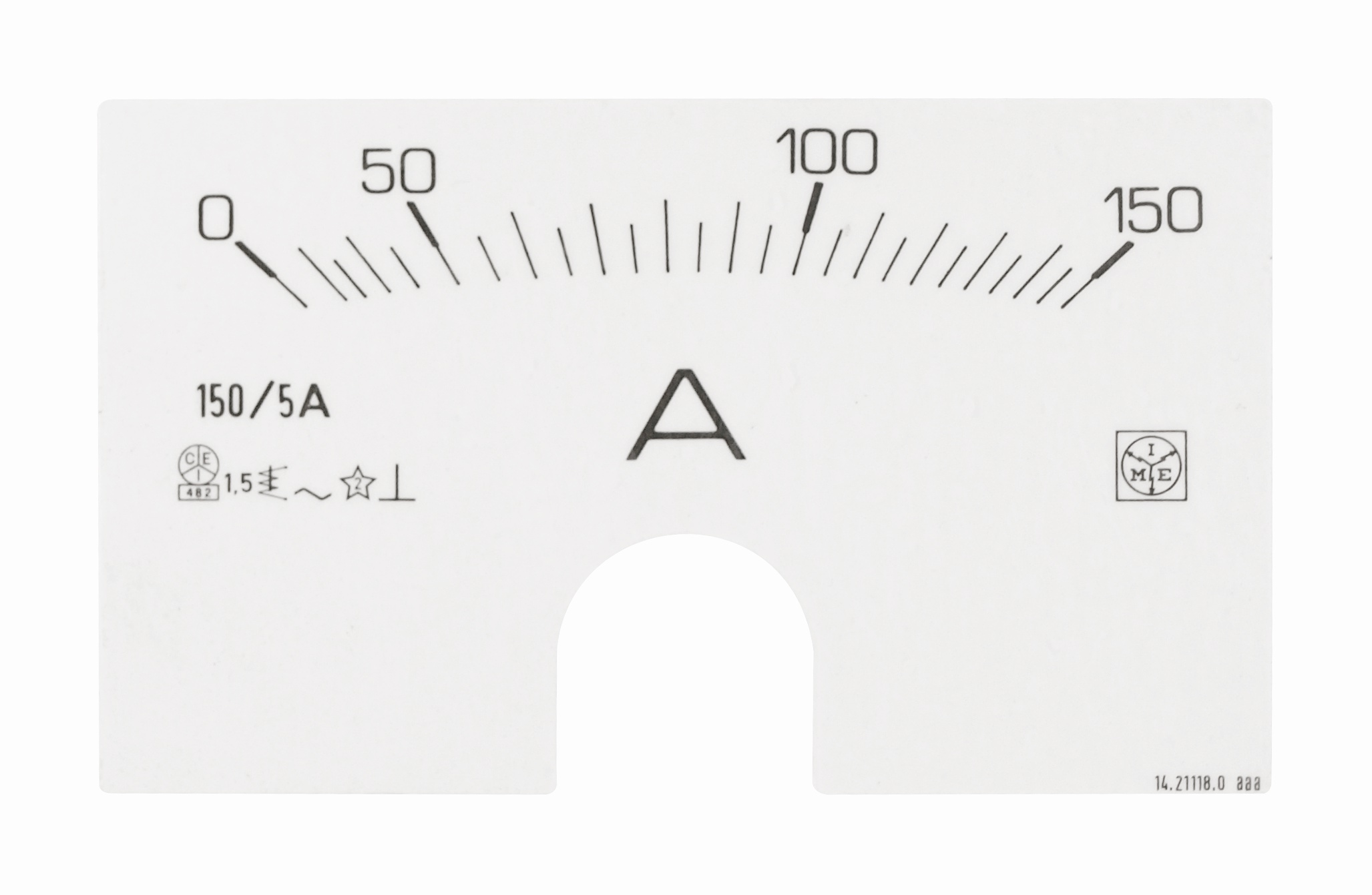 1 Stk Wechselskala für Reiheneinbau-Messgeräte 150A/5A MG95A150--