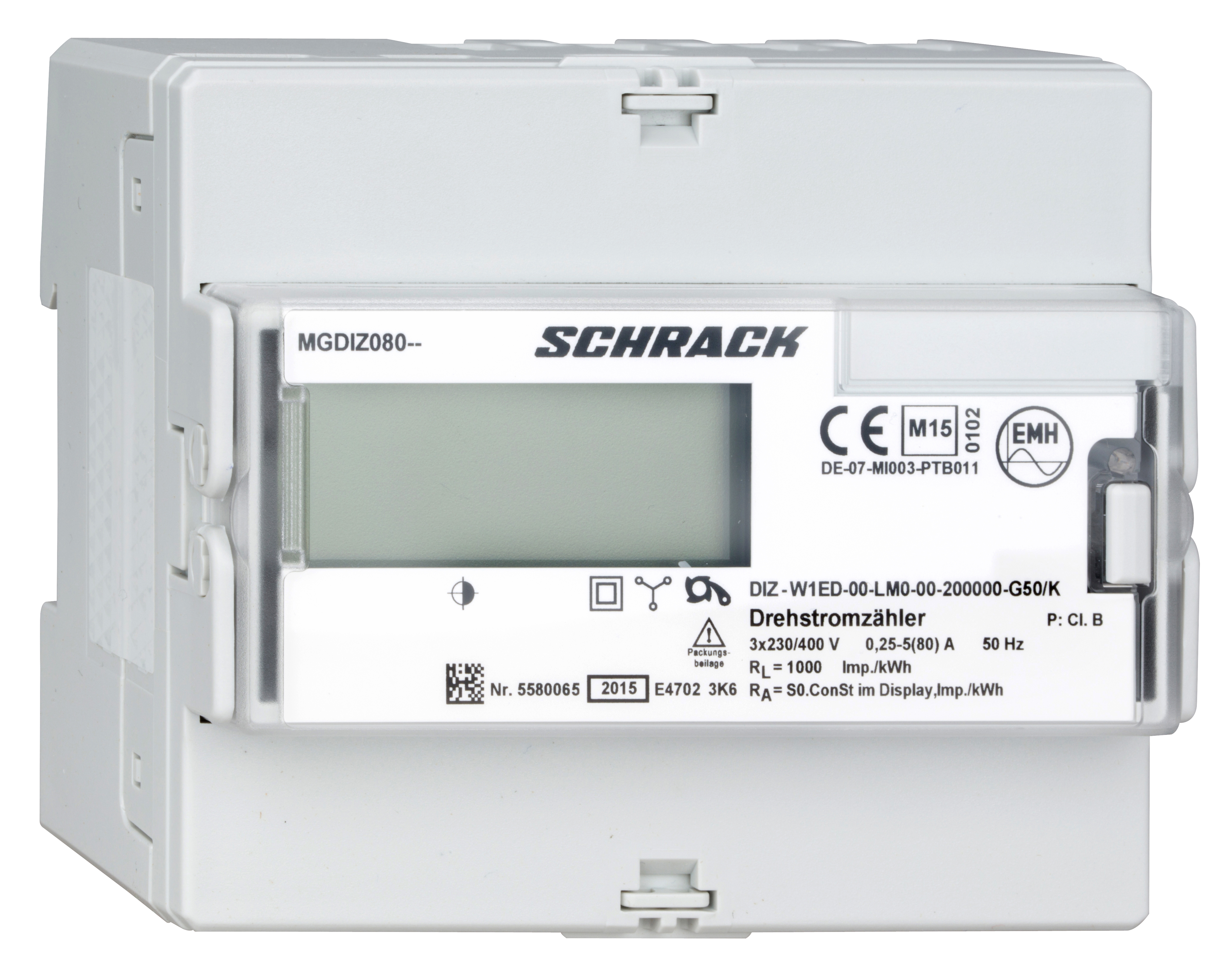 1 Stk Digitaler kWh-Zähler, direkt 80A, RE MGDIZ080--